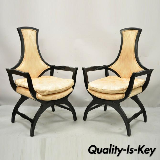 Vintage Hollywood Regency Black Curule Frame Upholstered Lounge Arm Chairs- Pair