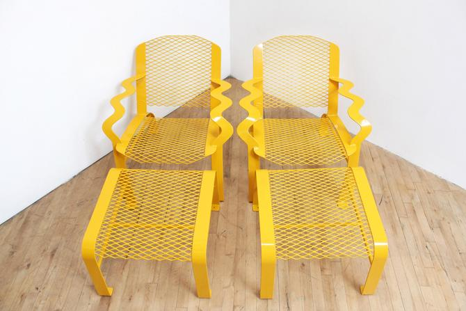 90s Memphis Patio Furniture Chairs Ottoman Table Vintage Welded Steel Powder Coated by 330ModernAntique