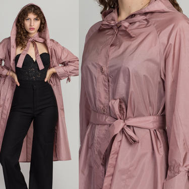 80s Mauve Hooded Trench Coat - Medium | Vintage Lightweight Belted Button Up Long Jacket by FlyingAppleVintage