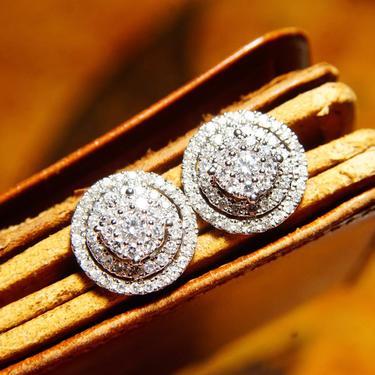 "Vintage 14K White Gold Double Halo Diamond Earrings, 53 Brilliant Diamond Cluster Studs Earrings, 1.4 TCW, AVJX 14K Hallmark, Art Deco, 1/2"" by shopGoodsVintage"