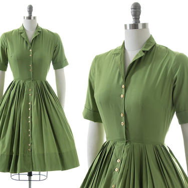 Vintage 1950s Shirt Dress | 50s Green Cotton Blend Button Up Full Skirt Fit and Flare Shirtwaist Day Dress (small) by BirthdayLifeVintage