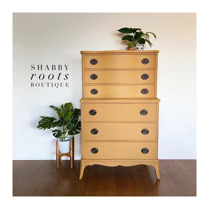 NEW! Gorgeous Mustard Yellow tall Dresser Chest of Drawers antique mahogany bow front wood. San Francisco Bay Area by ShabbyRootsBoutique