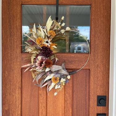 Plum, Mustard, and Burnt Orange Fall Neutral minimalist Boho dried flower wreath, Boho flower arrangement by NovaWreaths