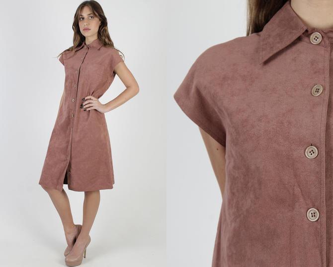 Bill Blass Dress / Mauze Micro Suede Dress / Vintage 70s Womens BlassSport Dress / Plain Ultra Suede Shift Minimal Mini Dress by americanarchive