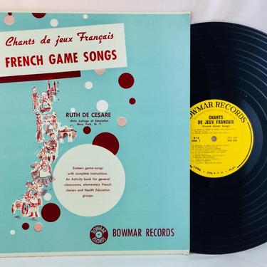 French Game Songs Chants De Jeux Francais LP Record Bowmar Album NO M7 French Lessons by AuntyEntitysVintage