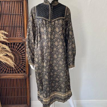 Vtg 70s Indian cotton gauze Kaiser semi sheer bib dress L by AnimalVintageMiami