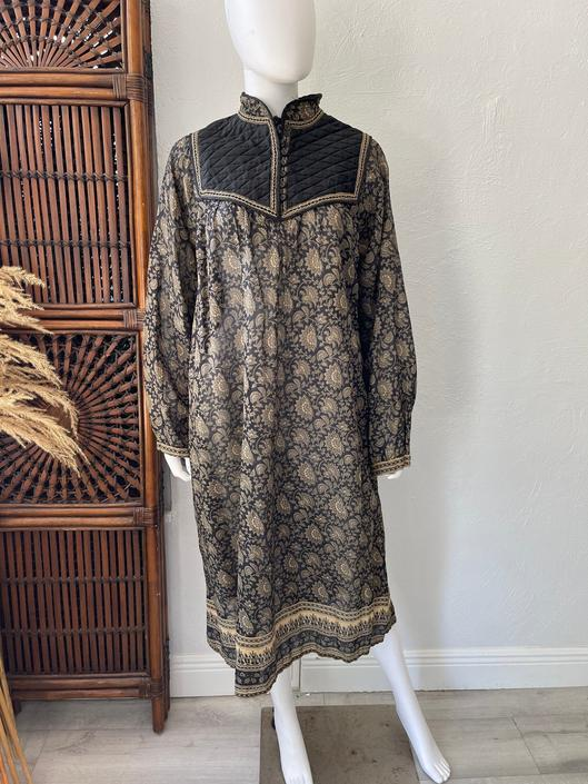 Vtg 70s Indian cotton gauze Kaiser semi sheer bib dress L by AnimalVintageMiami
