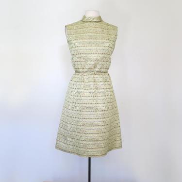 1960s mock neck metallic lurex mini dress by flutterandecho