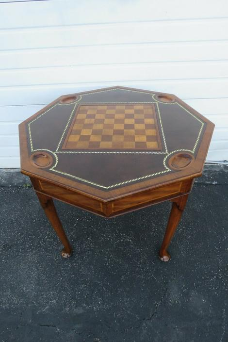 Carved Inlay Leather Top Card Chess Game Table 1233