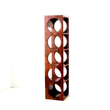 Vint MCM Rosewood Wine Rack 5 Bottle 21 in Counter Wall Mount 1 Available Quality Minimalist Mid Century Danish Scandinavian Modern Ex Cond by FultonLane