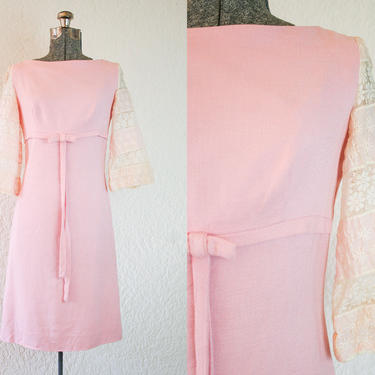 1960's Pale Pink Linen Dress with Lace Bell Sleeves / Size Small Medium by wanderlustmobileshop