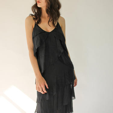 Vintage DKNY Black Silk and Beaded Tiered Dress | 100% Silk | DKNY Designer Black Silk Tiered, Ruffled Spaghetti Strap, Evening Dress by TheVault1969
