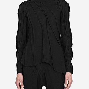 Plisse Stitch Asymmetric Long Sleeve Top