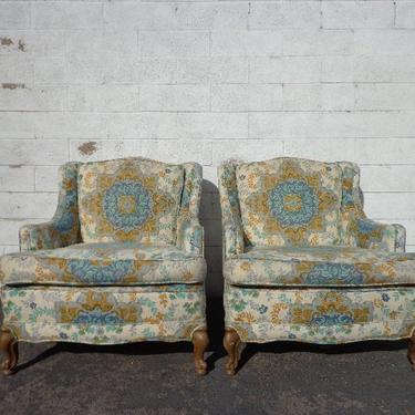 Pair of Chairs Traditional Lounge Armchairs Chair Seating Vintage Accent Armchair Upholstered Hollywood Regency Floral Print Country French by DejaVuDecors