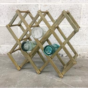 Vintage Wine Rack Retro 1980s Gold + Brass Metal + Holds 10 Bottles + Tabletop or Hanging +  Alcohol Storage + Home and Bar Decor by RetrospectVintage215