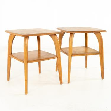 Paul McCobb Style Heywood Wakefield Mid Century Solid Maple Side End Tables - Pair - mcm by ModernHill