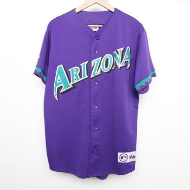 vintage 1990s ARIZONA DIAMONDBACKS major league baseball 1990s purple and teal JERSEY men's shirt -- size large by CairoVintage
