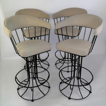 Four 1960s Mid Century Modern 4 Swiveling Bar Stools Upholstered in Houndstooth