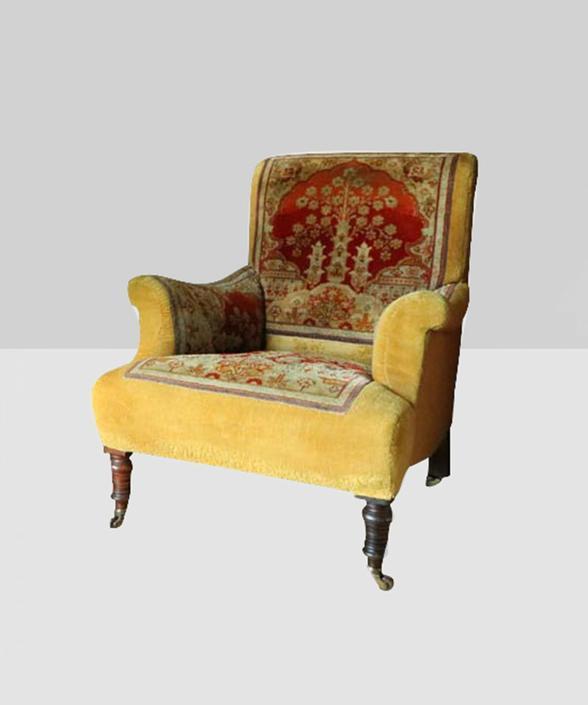 Victorian Velvet Carpet Chair