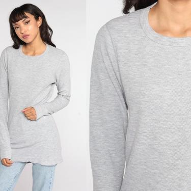 Grey Thermal Shirt Long Underwear Long Sleeve Shirt WAFFLE KNIT Shirt 90s Grunge Tshirt Retro Tee Vintage Plain Simple Medium Large by ShopExile