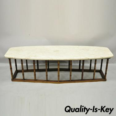 Vintage Hollywood Regency Faux Bamboo Travertine Marble Surfboard Coffee Table