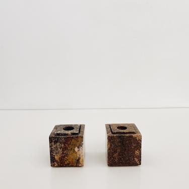 STONE <BR> CANDLE HOLDERS