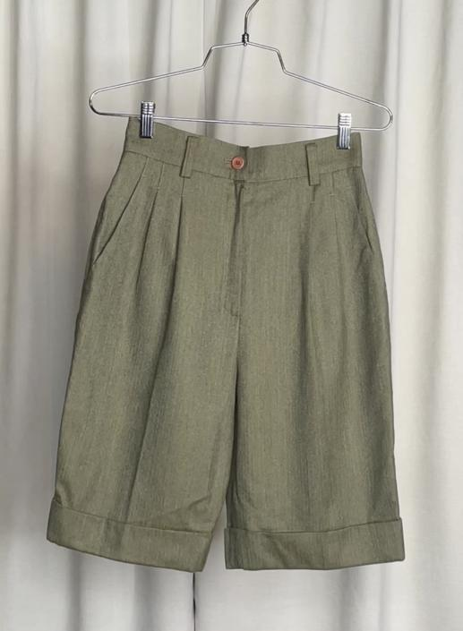 Vintage Moss Green High Waist Shorts