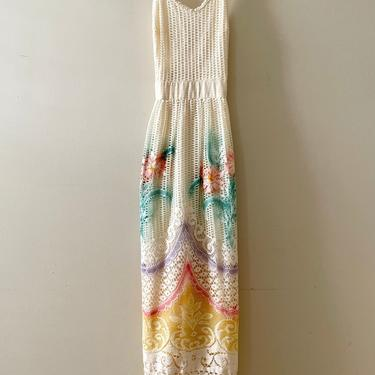 Vintage Maxi Dress - Mr. Aref Mesh Lace Cross Back Maxi Dress - Cream Floral Design Maxi Dress - Size 7/8 - Boho Style - Summer Maxi Dress by SoulfulVintage
