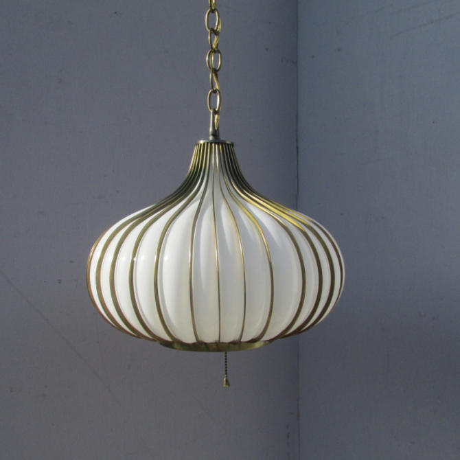 Mid-Century Modern Cage Blown Glass Swag Light Fixture