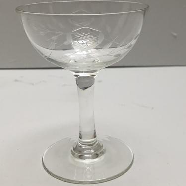Rose Pattern Etched Cocktail Glasses