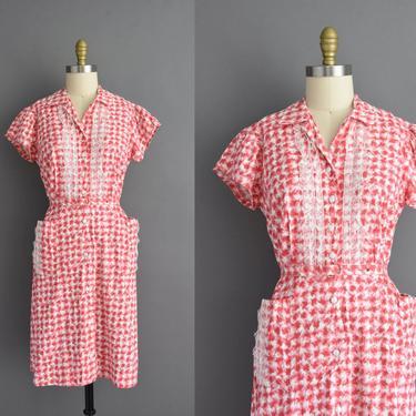 vintage 1950s   Red & White cotton plaid print short sleeve summer shirt dress   XL XXL   50s dress by simplicityisbliss