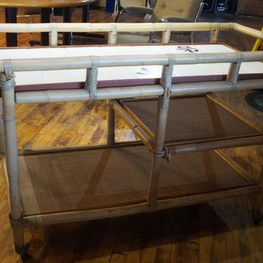 Rattan Asian Inspired Bar Cart
