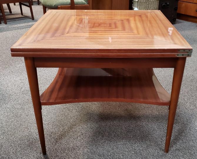 Item #MB8 Mid Century Cross Banded Mahogany Convertible Coffee Table c.1950