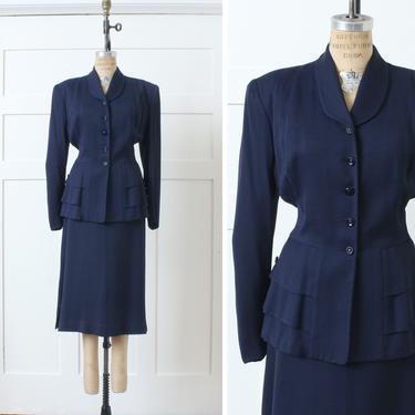 vintage 1940s navy blue womens suit • wool gabardine nipped waist jacket & skirt set • volup 33 waist by LivingThreadsVintage