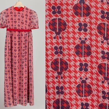 60s 70s Girl's Ladybug Print Dress - Girl's Small   Vintage Boho Puff Sleeve Kids Clothing by FlyingAppleVintage