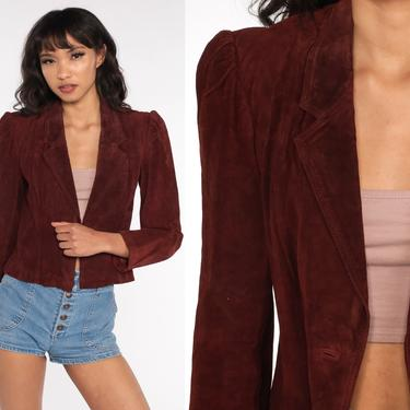 Suede Leather Blazer Jacket Brown SUEDE Jacket 70s 80s Puff Sleeve Bohemian 1970s Boho Hippie Coat Vintage Hipster Button Up Extra Small xs by ShopExile