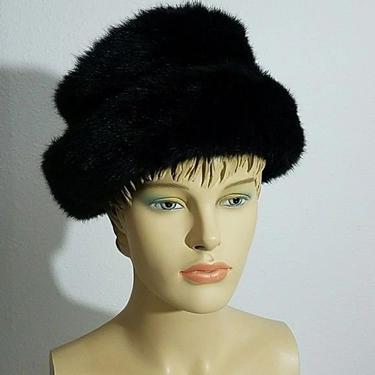 Vintage 70s Faux Fur Black Russian Style Unisex Hat by GraveyardVintage