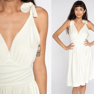 White Party Dress Grecian Dress 70s Midi Wrap Dress 1970s Boho Empire Waist Deep V Neck Drape Gown Formal Small Medium by ShopExile