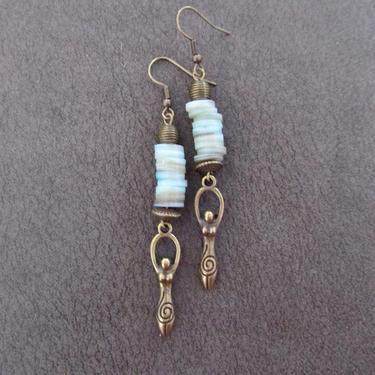 Goddess earrings, African statement earrings, Afrocentric earrings, blue tribal earrings, antique brass earrings, boho chic, female figure by Afrocasian
