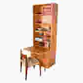 Slim Danish Teak Locking Cabinet + Secretary Bookcase Top