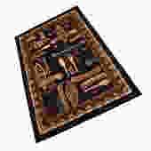 Mid Century Vintage Iconographic Rectangular Rug