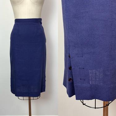 Vintage 1950s Pencil Skirt 50s Navy Moygashel Irish Linen Nardis of Dallas by littlestarsvintage