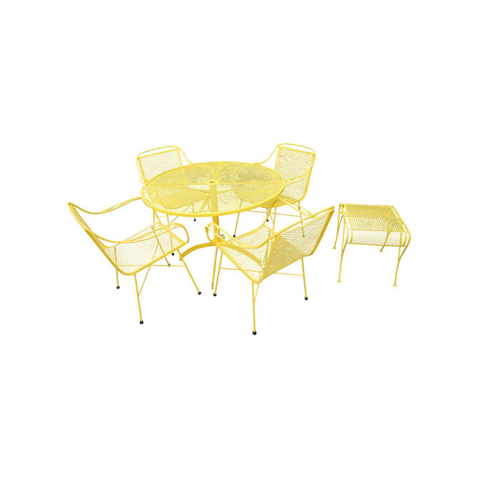 Mid Century Modern Buttercup Yellow Wrought Iron Patio Dining Set- 6 Pieces by MetronomeVintage