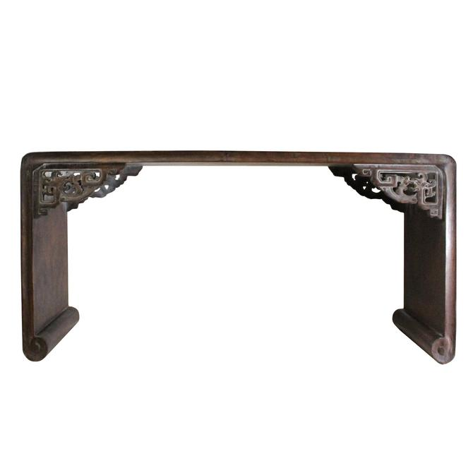 Brown Rosewood Oriental Ru Yi Carving Rectangular Display Table Stand ws739E by GoldenLotusAntiques