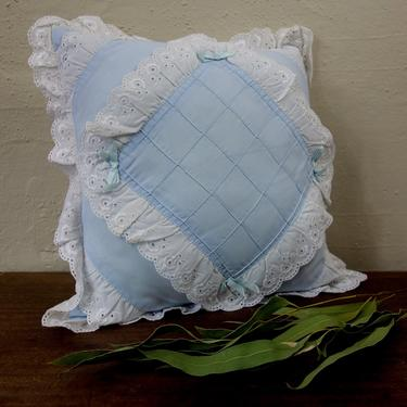 """Vintage 80s square throw pillow 13x13"""" powder blue with ribbon and lace ruffle for shabby cottagecore decor or nursery accent pillowcase by forestfathers"""