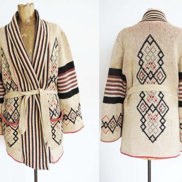 Vintage 70s Southwestern Robe Cardigan S M - 1970s Striped Geometric Belted Wrap Sweater - Shawl Collar - Brown Boho Wide Sleeve Cardigan by MILKTEETHS