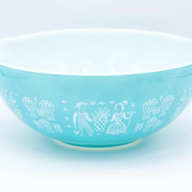 Vintage Pyrex Butterprint Cinderella Bowl, 4 Quart, No. 444, Farmer, Amish, Nesting, Mixing, Baking, Turquoise, Blue by TripodVintage