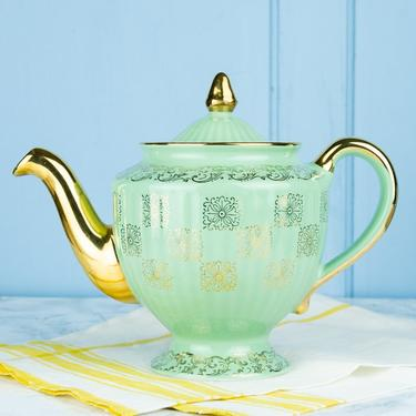 Vintage Hall China Mint Green and Gold Teapot
