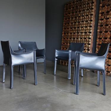 Mario Bellini Set of Four Gray Leather