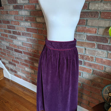 Vintage 1970's Purple Velvet Skirt with Fushia Pink Trim by BeesKneesVintageDC
